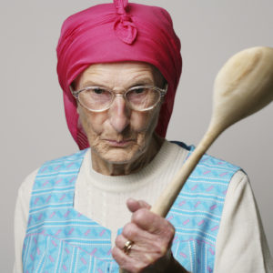 Old Woman with stick